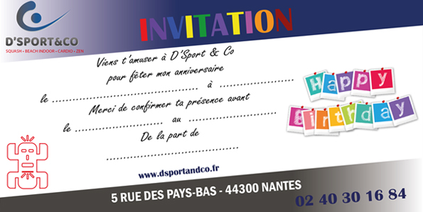 Carton d'invitation anniversaire - D'Sport & Co Nantes