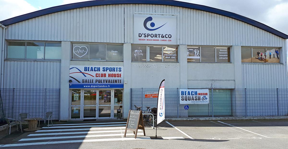 Retrouvez ou contactez D'Sport & Co votre club de sport Squash - Beach indoor - Cardio - Zen, unique à Nantes