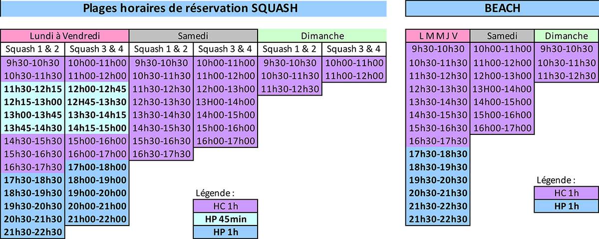 Plages horaires Squash et Beach Indoor - D'Sport & Co Nantes